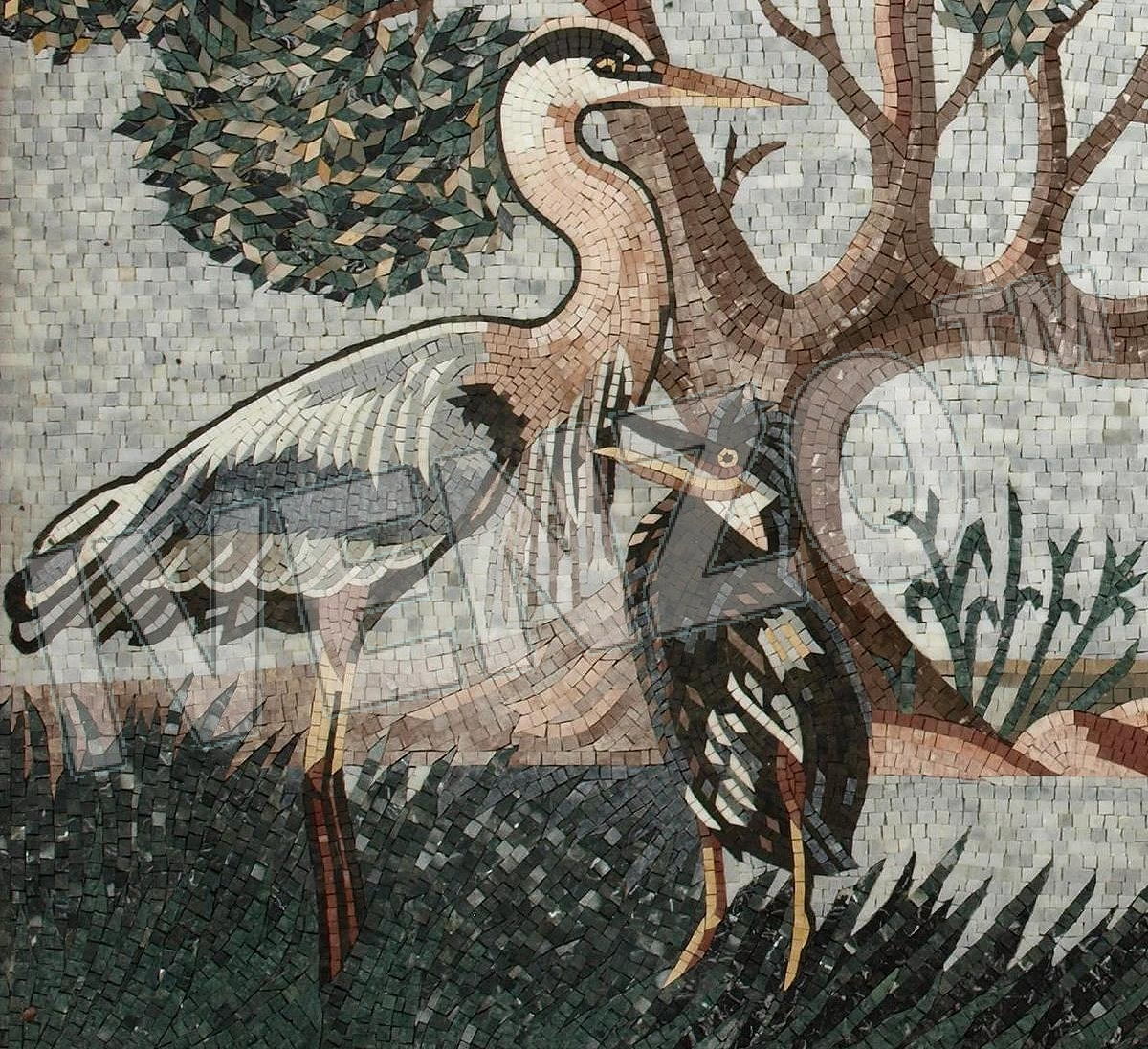 Mosaic AK047 Details seascape with herons 2