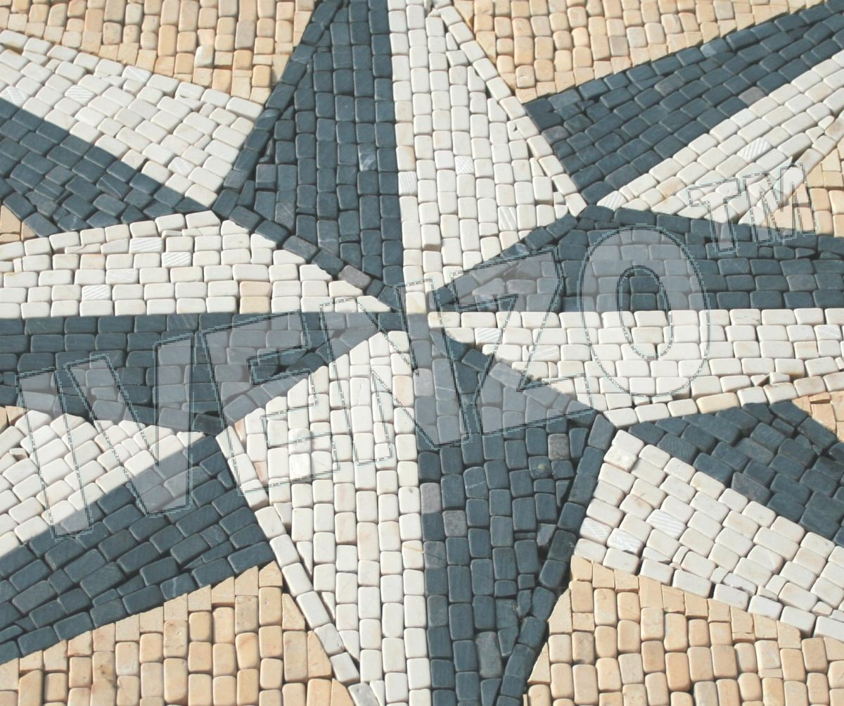 Mosaic CK050 Details carpet compass rose 1