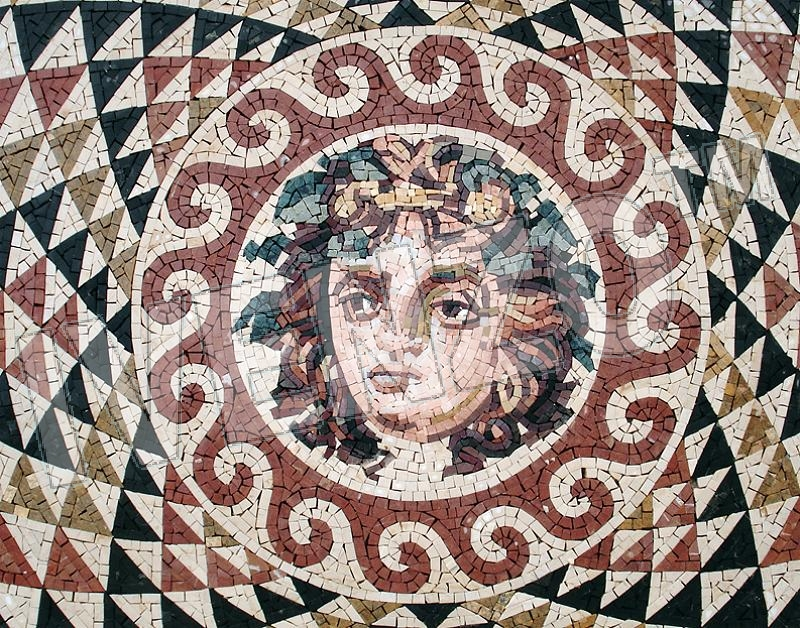 Mosaic CK057 Details Head of Dionysos from Korinth 1