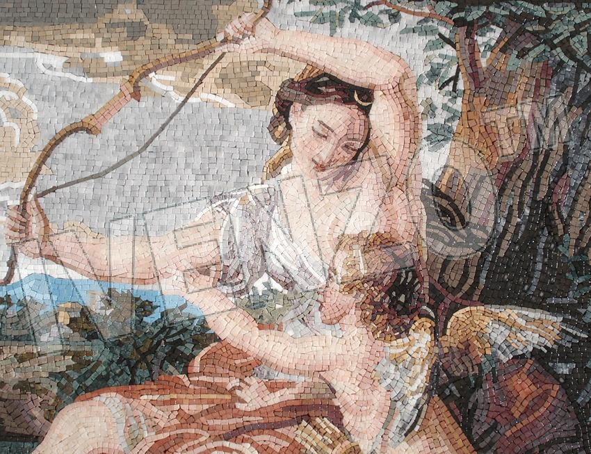 Mosaic FK102 Details Batoni: Diana and Cupid 1