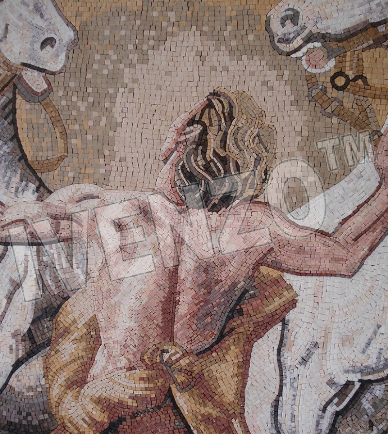 Mosaic FK109 Details man and horses 1