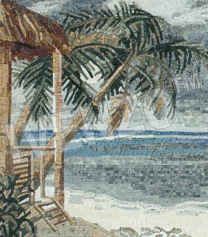 Mosaic LK011 Details Beach with palm trees 1