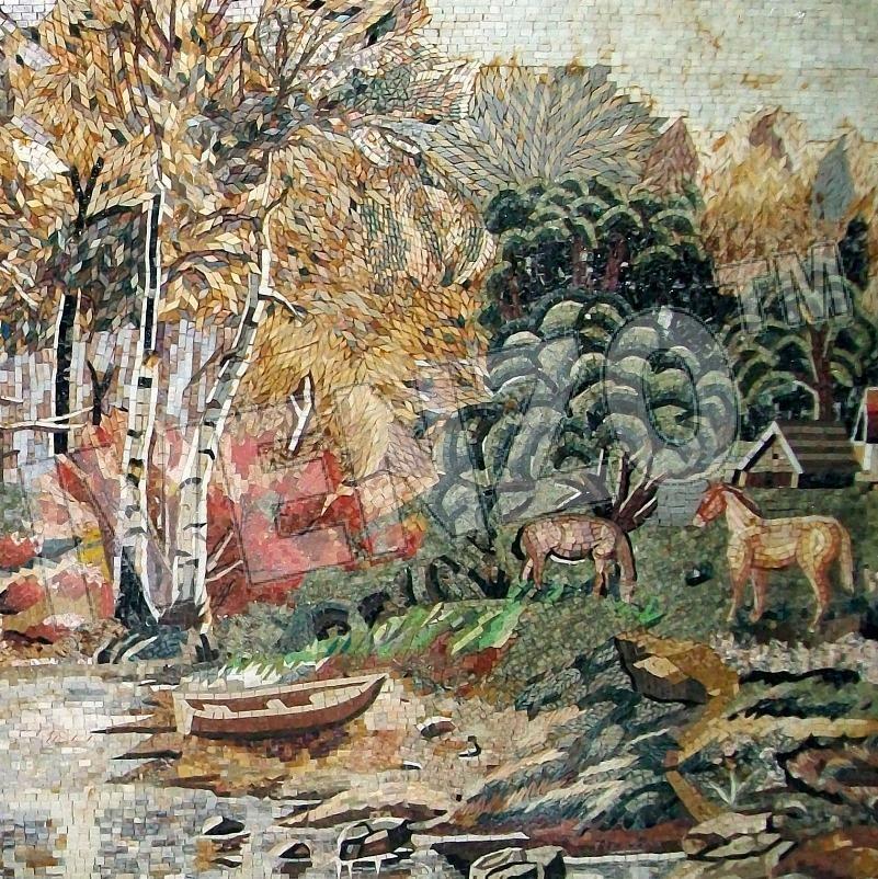Mosaic LK012 Details Forest with a lake and animals 2