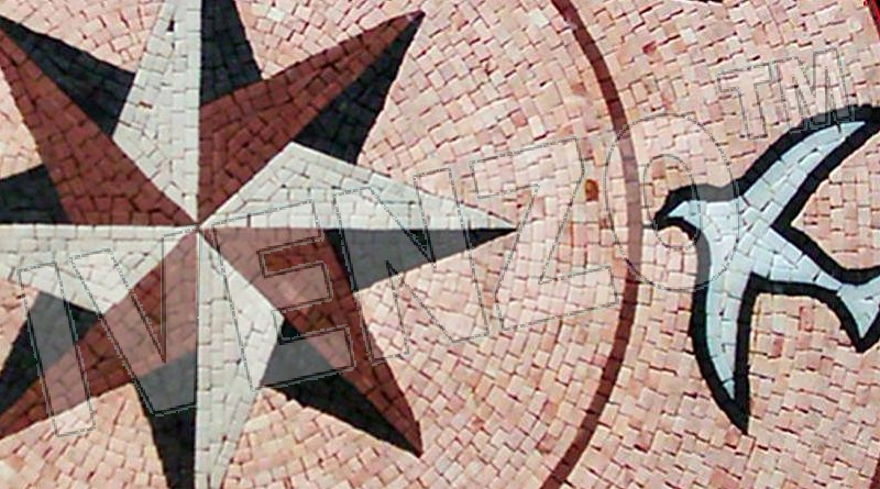 Mosaic MK036 Details Compass rose with birds 1