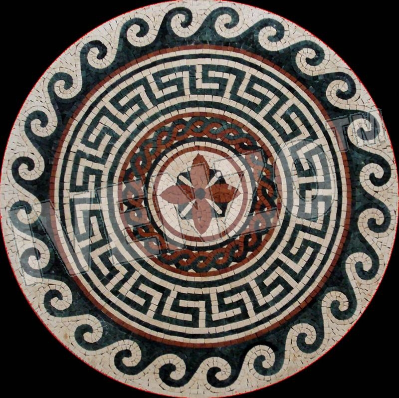 Mosaic MK056 Details greek-roman medallion 1