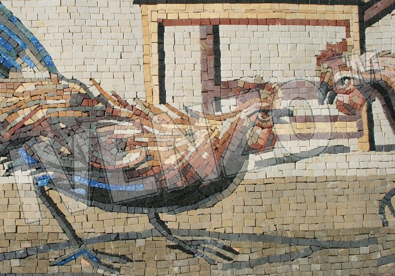 Mosaic AK008 Details cockfight from Pompeii 1