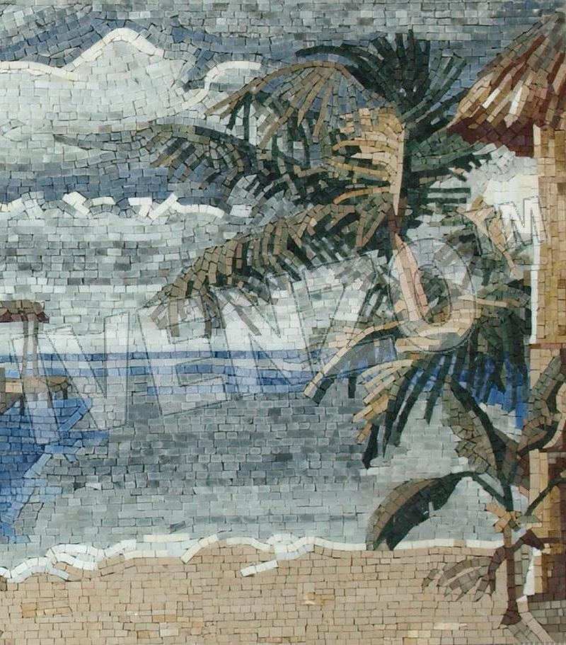 Mosaic LK011 Details Beach with palm trees 3