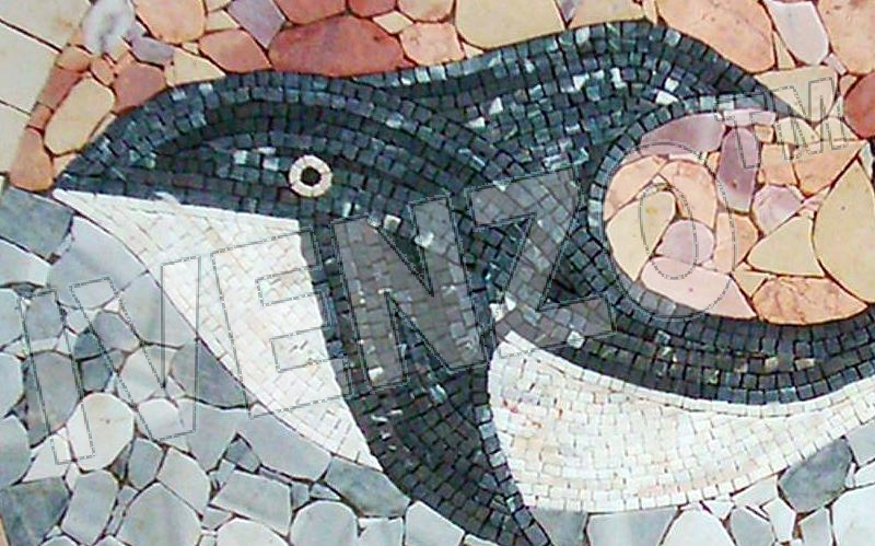 Mosaic MK018 Details Medallion with Whale 1