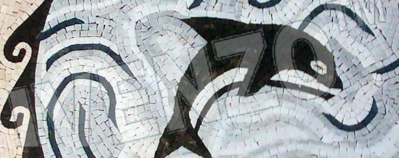 Mosaic MK021 Details medallion with whale 1