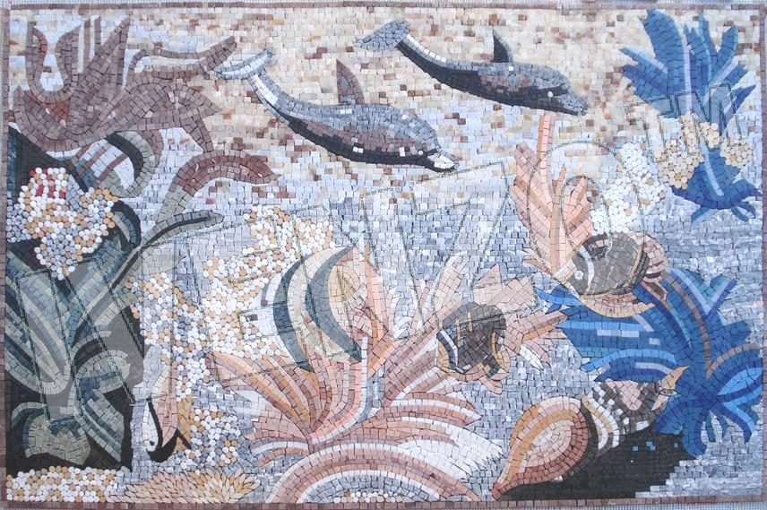 Mosaic AK014 scene with fish