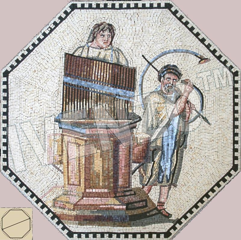 Mosaic FK107 Musicians with organ and tuba