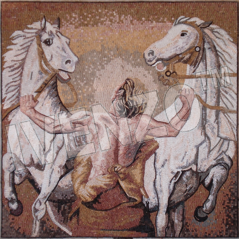 Mosaic FK109 man and horses