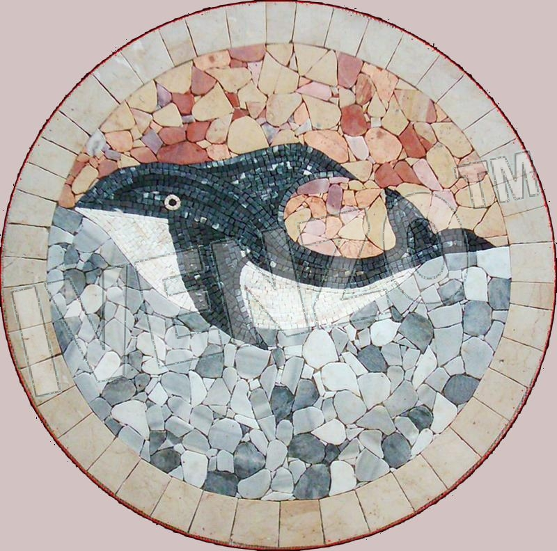 Mosaic MK018 Medallion with Whale