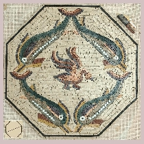Mosaic Dolphins with swan