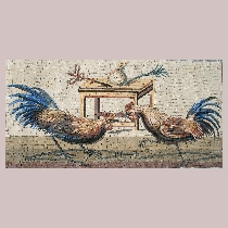 Mosaic cockfight from Pompeii