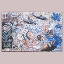 Mosaic scene with fish
