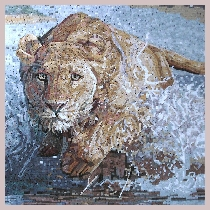 Mosaic lioness in the river