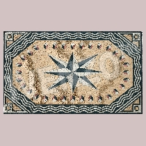 Mosaic carpet compass rose