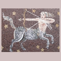 Mosaic sign of the zodiac sagittarius