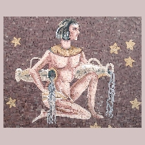 Mosaic sign of the zodiac aquarius