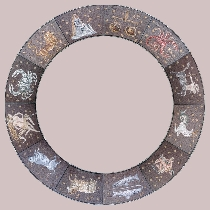 Mosaic 12 signs of the zodiac in a ring