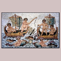 Mosaic Children on a Boat