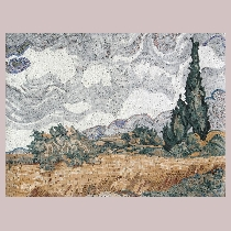 Mosaic van Gogh: Cornfield with Cypresses