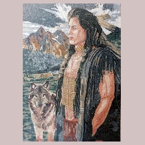 Mosaic Indian with dog
