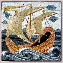 Mosaic two-master boat