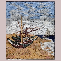 Mosaic Vincent van Gogh: Boats on the beach