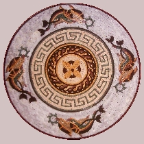 Mosaic medallion with dolphins